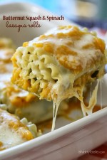 Butternut Squash Lasagna Roll Ups with Spinach are made with a creamy butternut-parmesan sauce baked in the oven until melted and hot – trust me, you want these in your life!