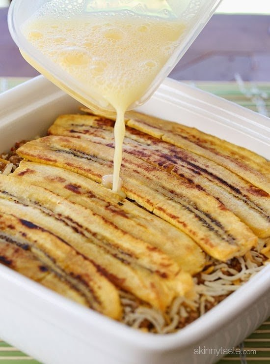 Turkey Pastelón is a latin lasagna made of strips of sweet plantain layered with savory picadillo and cheese. It's that sweet salty thing that makes it taste SO good!