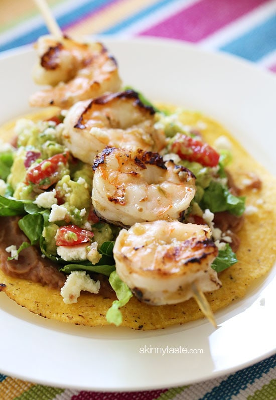 Grilled Shrimp Tostadas – I make these indoors on my little grill pan, super easy and delish!