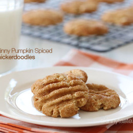 These Skinny Pumpkin Spiced Snickerdoodles cookies should really come with a warning label, because they are so good and hard to stop at just one!