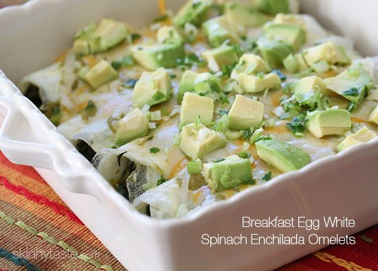 Breakfast Egg White Spinach Enchilada Omelets – I used egg whites instead of tortillas to keep them low carb