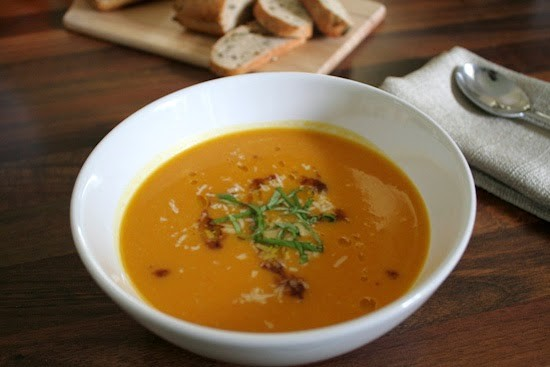 Pumpkin Acorn Squash and Tomato Soup