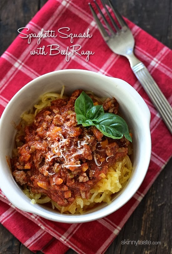 Spaghetti Squash with Meat Ragu is my go-to spaghetti squash meal! Roasted Spaghetti Squash topped with a simple-yet-delicious meat sauce simmered with tomatoes, onions, carrots and celery. It's so good, you won't miss the pasta!