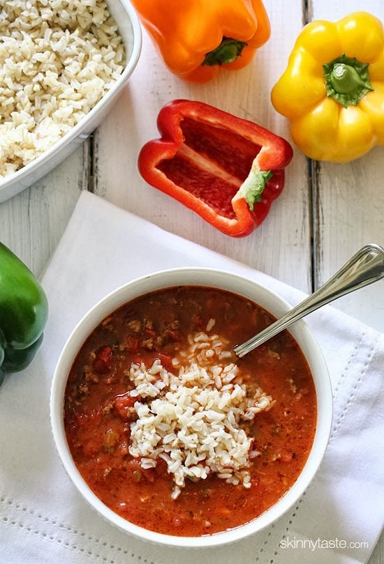 Stuffed Pepper Soup – everything you love about stuffed peppers without all the work!