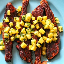 Blackened wild salmon fillets seasoned with blackened seasoning such as cayenne, paprika and herbs are seared in a skillet then topped with a fresh mango salsa – if you can take the heat, then you'll love this dish!
