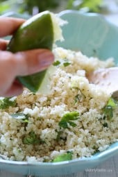 Grated cauliflower makes a fantastic low-carb, grain-free stand in for rice when you need a little carb detox. You can season this any way you wish – here I brightened it up with lime and cilantro and served it with a broiled pork loin. It has a couscous-like texture, and is perfect with chicken, pork chops, steak or anything you would normally serve with rice.