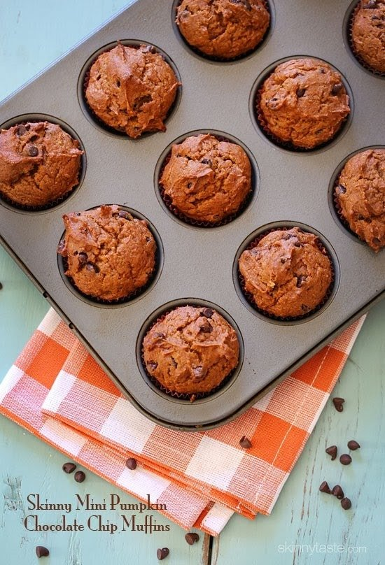 Skinny Mini Pumpkin Chocolate Chip Muffins