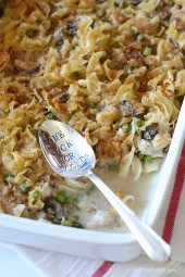 Homemade tuna casserole, the quintessential American dish. This is made from scratch, and under $10 to make! Made with canned tuna, mushrooms, peas and noodles in a creamy sauce (and no canned soup) finished with toasted breadcrumbs – the kids love it!