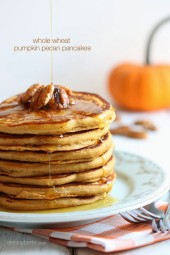 Whole wheat buttermilk pancakes made with white whole wheat flour, pumpkin puree, pure maple syrup, pumpkin spice and pecans – a perfect lazy Sunday morning breakfast.
