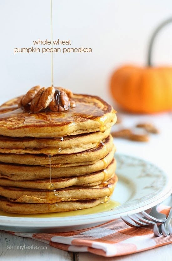Whole Wheat Pumpkin Pecan Pancakes | Easy Pancake Recipes