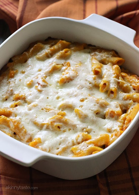 Whole wheat pasta baked in the oven with a quick pumpkin sauce made with bacon, shallots, pecorino cheese and a touch of rosemary then topped with mozzarella cheese. This is such a great Fall dish, and my husband loved how it turned out!