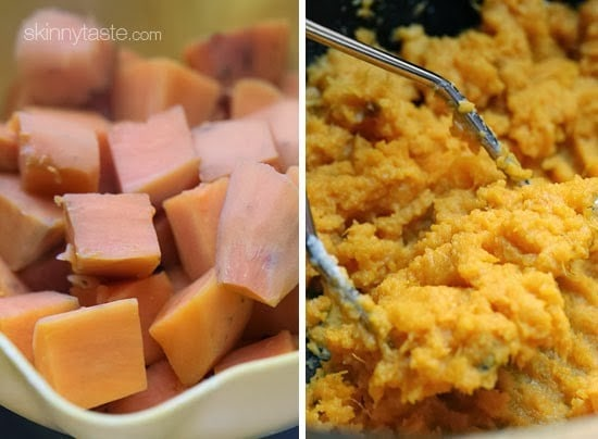 These savory garlic sweet potato smash are the perfect addition to your turkey dinner – let your slow cooker help you out in the kitchen this Thanksgiving!