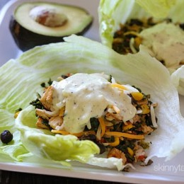 These Santa Fe turkey lettuce wraps are SO good, you'll WANT to save some leftover turkey just to make them (or leftover chicken breast would work too)! Have you ever had the Spinach Santa Fe Egg Rolls with the Cilantro Ranch Dipping Sauce from Chili's? They're dangerously good – I don't even want to know how many calories they are. That's where the inspiration for these lighter lettuce wraps came from.