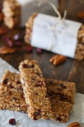 Chewy bars with chunks of toasted pecans and dried cranberries combined with toasted oats, almond butter and pure maple syrup. I'm in LOVE with these bars!