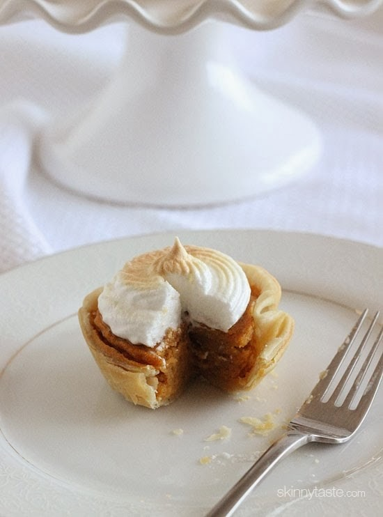 Petite sweet potato pie bites lightly sweetened with a ripe banana, a touch of brown sugar and spices, then topped with a light meringue topping. A perfect sweet potato recipe for the Holidays!