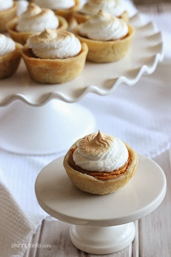 Petite sweet potato pies lightly sweetened with a ripe banana, a touch of brown sugar and spices, then topped with a light meringue topping – perfect for the Holidays!