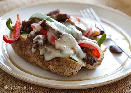 Loaded Philly Cheesesteak Baked Potato | Skinnytaste