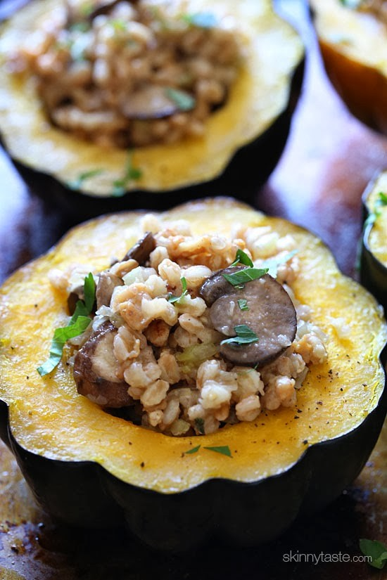 This simple savory stuffed acorn squash is easy to make and filled with the wonderful flavors of Fall.  The stuffing is made with farro, chicken sausage, mushrooms, celery, onions and sage – you'll love this!