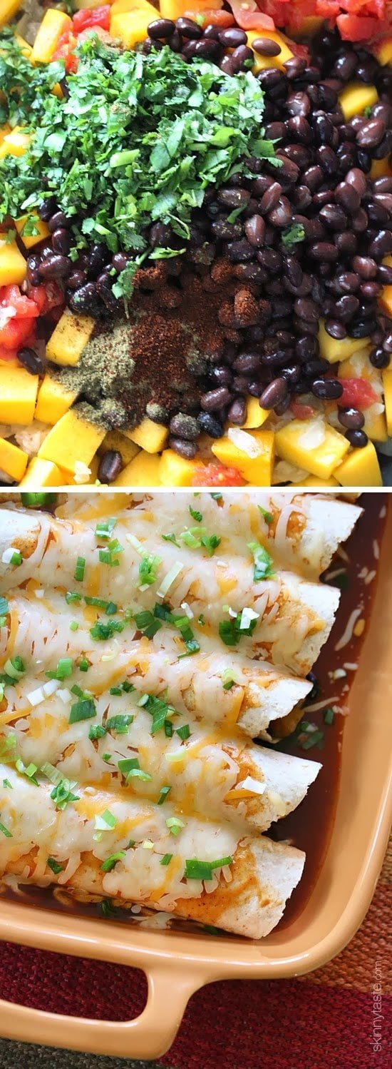 Butternut squash, black beans, tomatoes, cilantro and spices are simmered in a skillet with green chilies and jalapeno, then wrapped in tortillas and baked in the oven with enchilada sauce and cheese – these vegetarian enchiladas are delicious and perfect for meatless Mondays, or any day of the week!