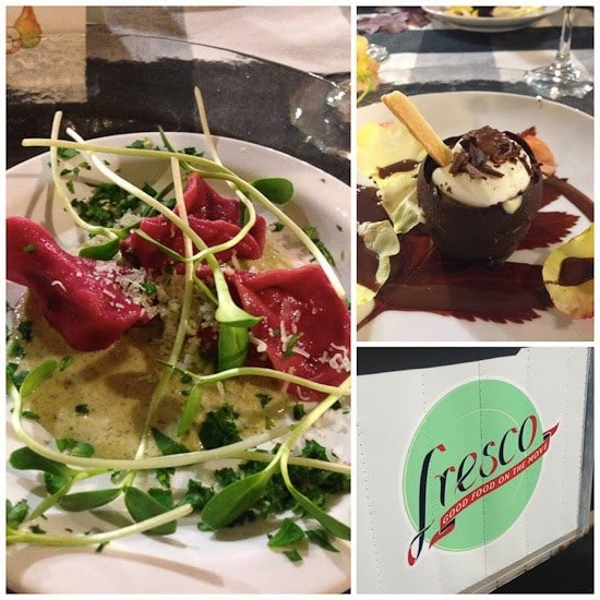 A plate of beet-colored pasta with pea shoots and creamy dressing, a plate with a chocolate cup filled with whipped cream and shaved chocolate, a photo of the Fresco logo