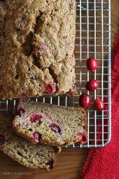 If you have ripe bananas lying around, today is the perfect day to make this wonderfully moist Banana Cranberry Bread studded with tart ruby cranberries!