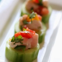 These Ceviche Cucumber Cups are made with fresh raw fish (shellfish), lime juice, onions and cilantro, making it gluten-free, paleo friendly and low-carb!