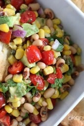 For those of you who believe eating black eyed peas in the New Year will bring you luck (and we can certainly all use a little more luck) this healthy bean salad is for you! Whether you eat this as a salad or serve it as a dip with some baked chips, the zesty flavors in this salad is sure to turn you into a fan of black-eyed peas.
