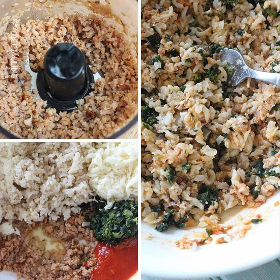 Chopped sausage in a food processor bowl, a mixing bowl with sausage, rice, cheese, spinach, bread crumbs, and marinara sauce, a mixing bowl with all ingredients combined