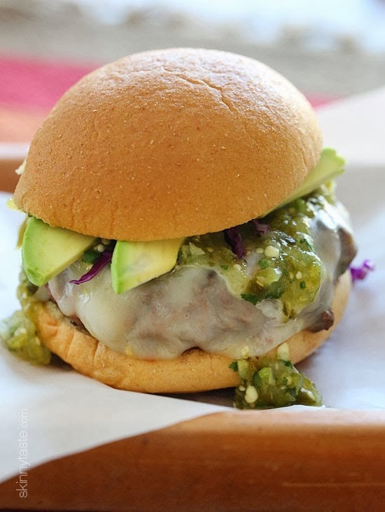 Wow, these Salsa Verde Burgers are OFF THE HOOK! If you need a new burger idea that everyone will love, look no further. These burgers are lean with a mean, green kick topped with pepper jack cheese, salsa verde and avocado – delish!