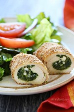 This easy spinach and feta stuffed chicken breasts dinner are basically chicken cutlets stuffed with spinach feta and ricotta, breaded and baked to perfection!