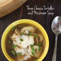 Three Cheese Tortellini and Mushroom Soup is warm and satisfying, with tortellini in every bite. Top this with some fresh shaved Parmigiano Reggiano and you'll experience a wonderful unami taste sensation.