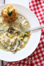 The taste of chicken pot pie, in a soup! Chicken pot pie is ultimate comfort food and this creamy, chunky soup is loaded with chicken, potatoes, mushrooms, peas, carrots, corn, celery, onions and green beans in every bite.