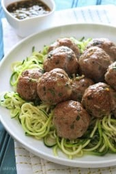 These Asian inspired meatballs are out of this world! Made with ground turkey, ginger, scallions, cilantro and sesame oil with a wonderful tangy sesame-lime dipping sauce. You can make them for dinner or serve them as an appetizer by making them half their size and setting out toothpicks for dipping into that delicious sauce.
