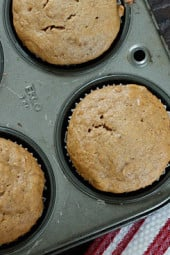 Sunday mornings are a little better when I make these deliciously moist peanut butter muffins. These muffins make a regular appearance in my home whenever I have ripe bananas I need to use up. Everyone loves them around here – if you try them you'll know why!