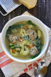 This turkey meatball spinach tortellini soup is an easy, kid-friendly soup and a great way to warm up on a cold winter night. One large bowl is under 300 calories and is very satisfying.