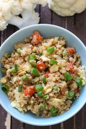"Cauliflower ""Fried Rice"" is my favorite low-carb side dish when I'm craving Chinese take-out!"