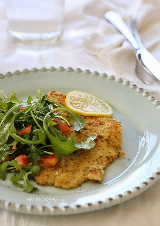 Breaded flounder milanese, lightly pan sauteed and topped with an arugula, lemon and tomatoes – a simple yet delicious way to prepare fish. Perfect for Lent, or any night you're in the mood for fish.