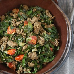 Kenyan braised collard greens and ground beef, also known as Sukuma Wiki, is quick and super easy to make.
