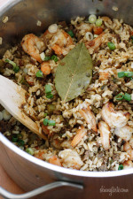 "A healthier twist on a Cajun classic, the addition of shrimp turns this ""dirty brown rice"" into a fabulous main dish."