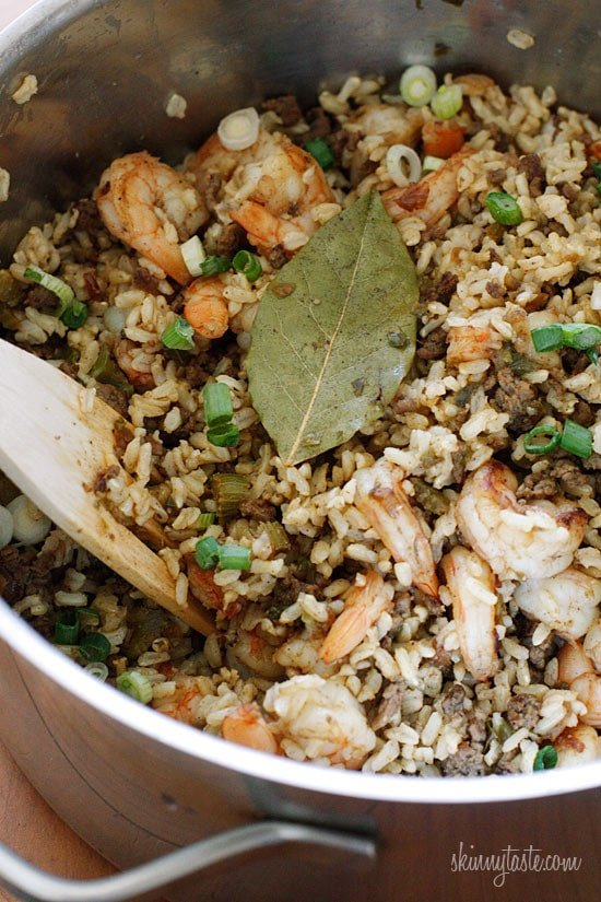 A healthier version of dirty rice using brown rice and lean ground beef – delicious!