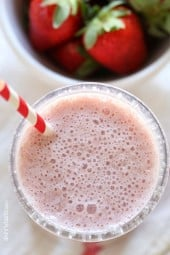 Roasted strawberries in this protein packed smoothie brings out their amazing natural flavor, made with creamy cottage cheese and added chia seeds – what a great way to start the day!