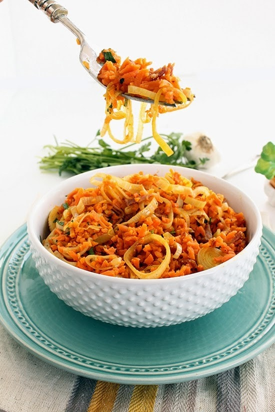 While digging your fork in this fluffy bowl of spiraled carrot
