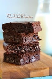 PB2 Flourless Chocolate Brownies, made with PB2 (powdered peanut butter) instead of flour plus cocoa powder, raw honey and chocolate chips
