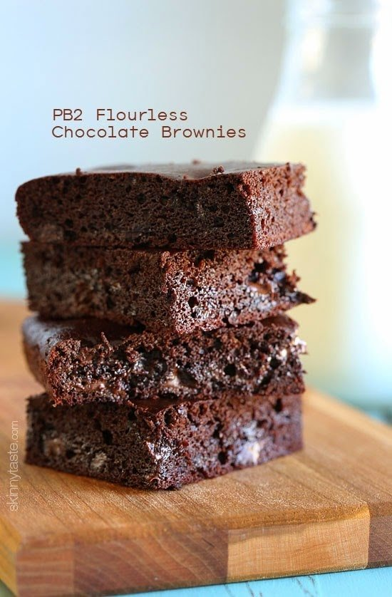 PB2 Flourless Chocolate Brownies – These gluten free brownies are pretty amazing! Made with PB2 (powdered peanut butter) instead of flour plus cocoa powder, raw honey and chocolate chips – moist and delicious, you won't believe they're only around 130 calories each!