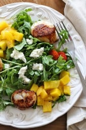 Sauteed sea scallops, arugula and sweet beet salad is another summer favorite, tossed with goat cheese and a honey vinaigrette – this salad is delicious!