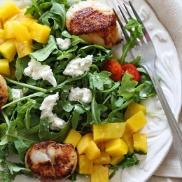Sea scallops arugula and beet salad is another summer favorite, made with sweet yellow beets, arugula, goat cheese and sauteed scallops tossed with a honey vinaigrette – this salad is delicious!