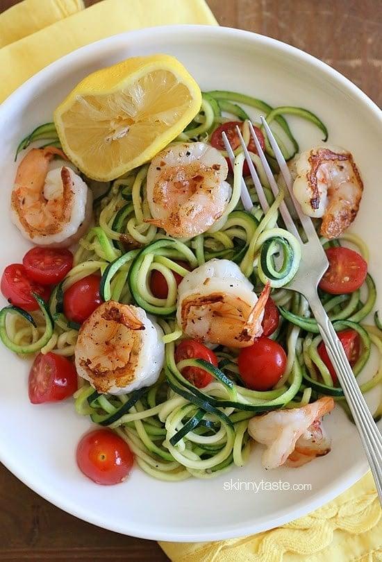 ... Noodles (Zoodles) with Lemon-Garlic Spicy Shrimp | Skinnytaste