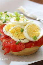 Sliced hard boiled eggs, juicy ripe tomatoes, chopped scallions with a touch of mayonnaise, salt and pepper – enjoy this sandwich for breakfast or lunch.