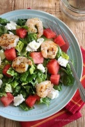 Grilled Shrimp and Watermelon Chopped Salad made with chopped romaine tossed with sweet, juicy watermelon, grilled shrimp, goat cheese and a golden balsamic vinaigrette – I'll be making this salad all summer!!