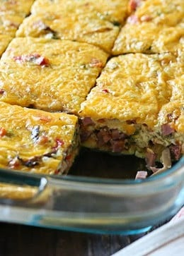 Make this delicious and easy breakfast veggie ham and cheese egg bake for brunch or make it ahead for meal prep for the week.